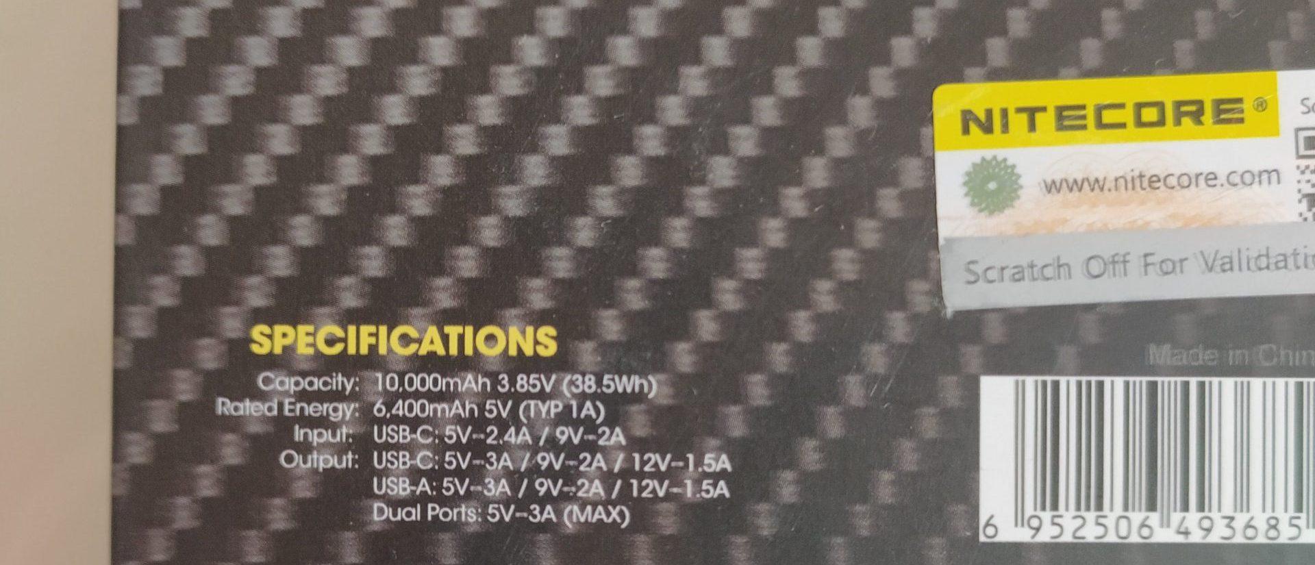 Technische Daten der Nitecore NB10000 laut Verpackung